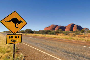 Kangaroo road sign at Kata Tjuta